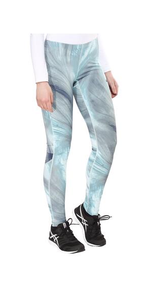 asics Graphic - Pantalones largos running Mujer - gris/Turquesa